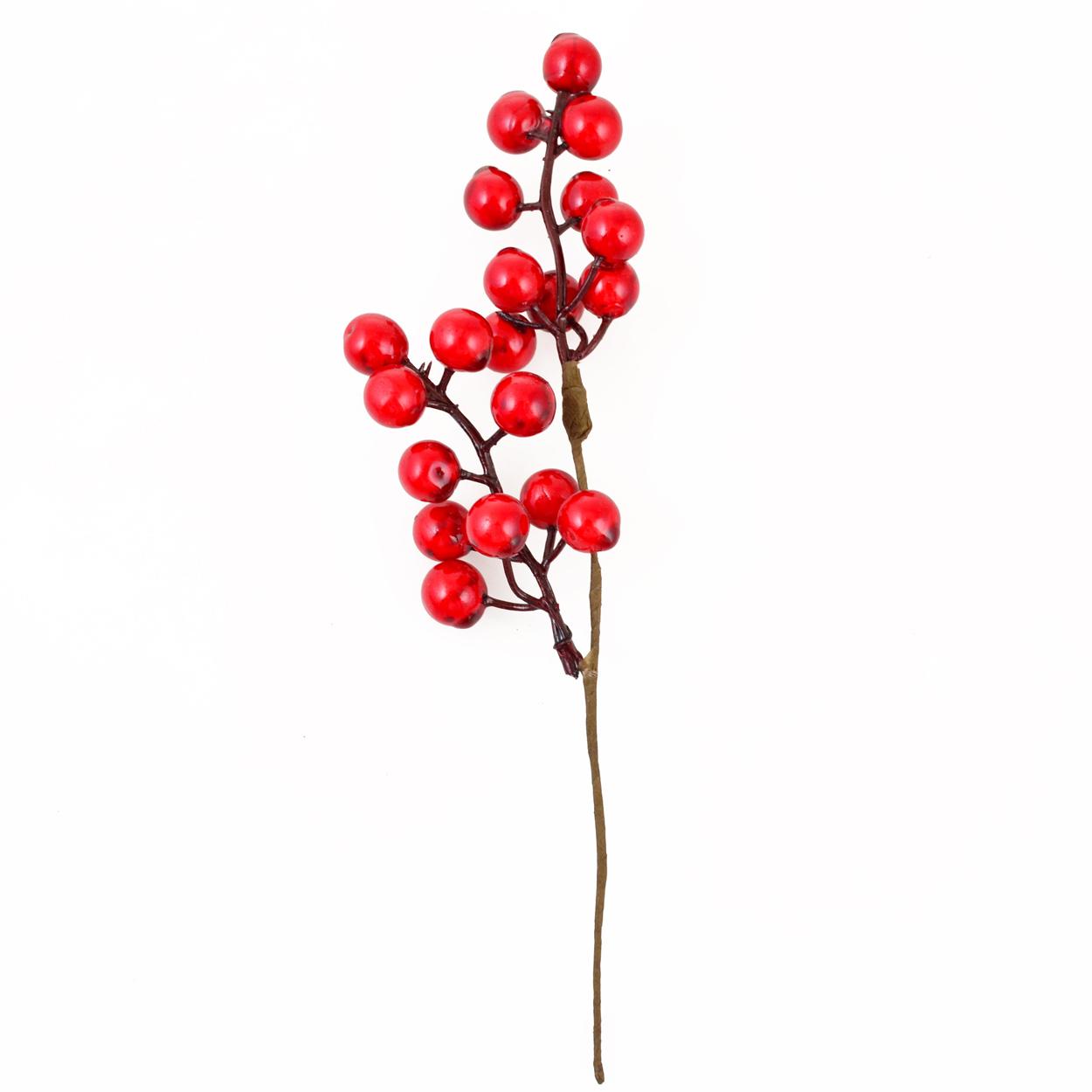 Ветка Yes! Fun с красными ягодами, 24 см