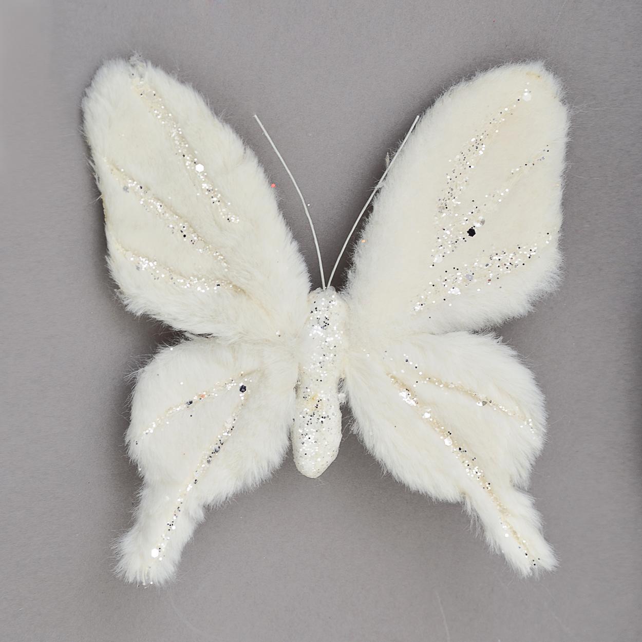 Бабочка Yes! Fun пушистая кремово-белая с декором, 20*20 см