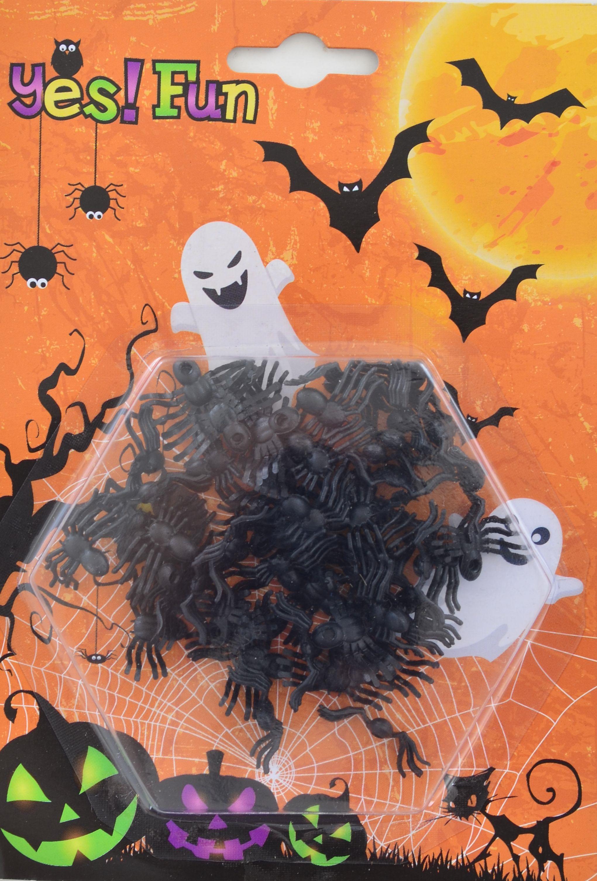 Набор пластиковых черных пауков для декора, 50 шт.