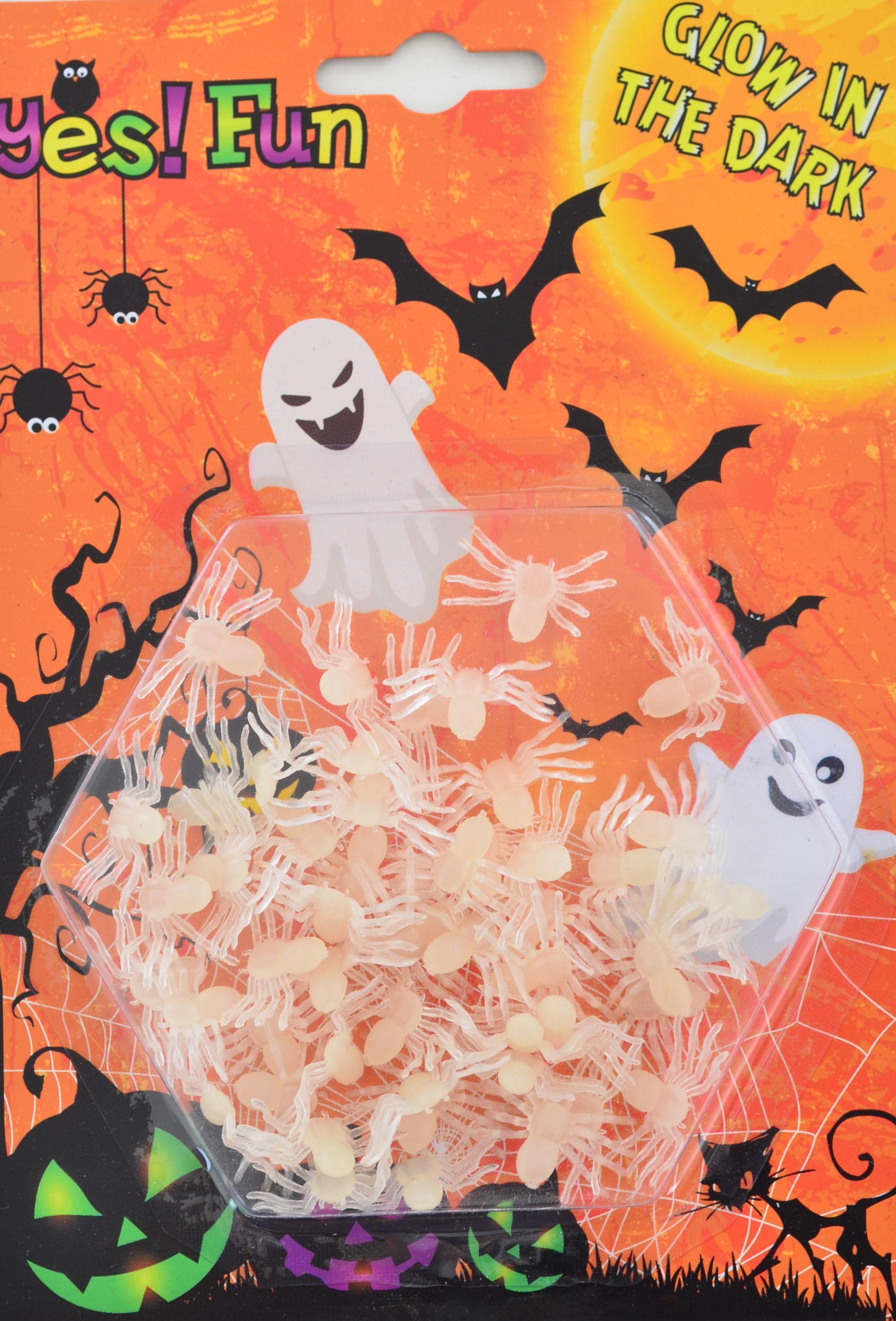 Набор белых пауков светящихся в темноте, 50 шт.