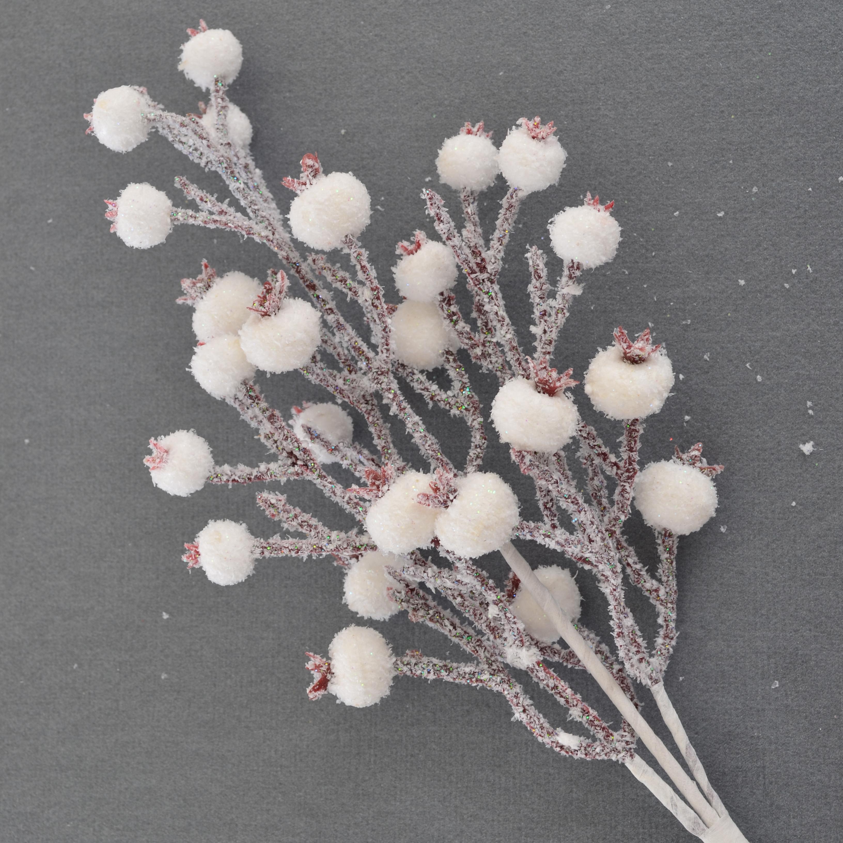 Ветка заснеженная с ягодами, 19 см